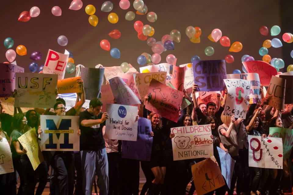 Follies ended with all the 4th years holding signs representing where they will be doing their residencies