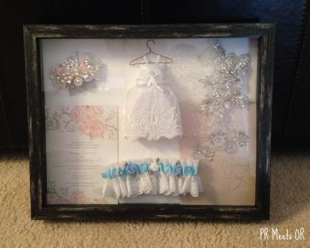 Shadow box with wedding keepsakes